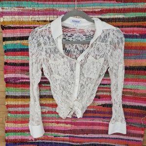 My 90's dream top! Cream Lace button down